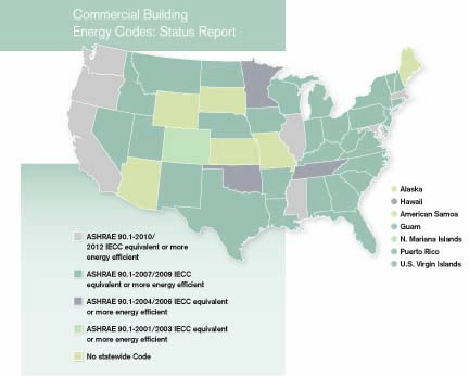 Commercial Building Energy Codes: Status Report Map