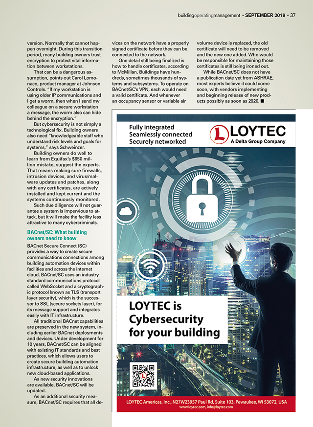 Building Operating Management Magazine Issue - September 2019