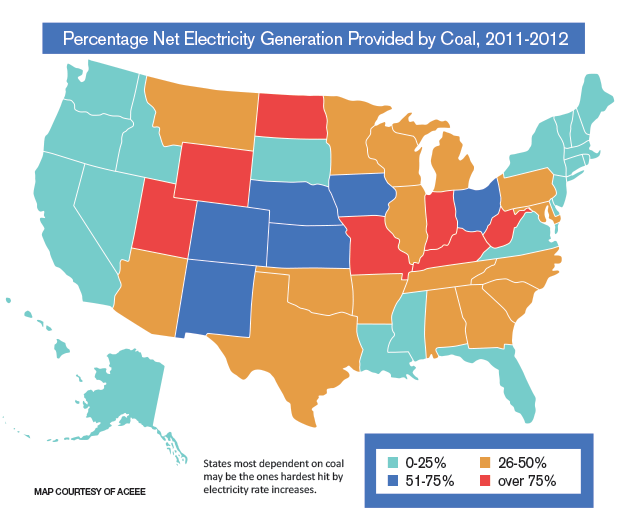 Electricity generated by coal map