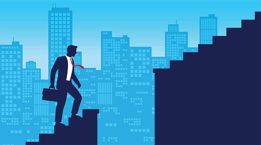 Illustration of business man climbing stairs with skyline in background