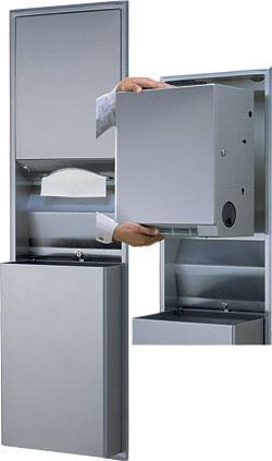 Convertible Universal Folded Paper & Roll Towel Dispenser and Waste Unit: Bobrick Washroom Equipment Inc.