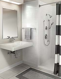 Bathroom Suite Features Faucets and Shower System Designed for Commercial Use: Moen Inc.