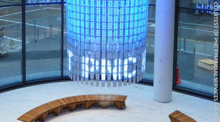 Unusual Lobby Beacon at New Pittsburgh High-Rise Illuminates