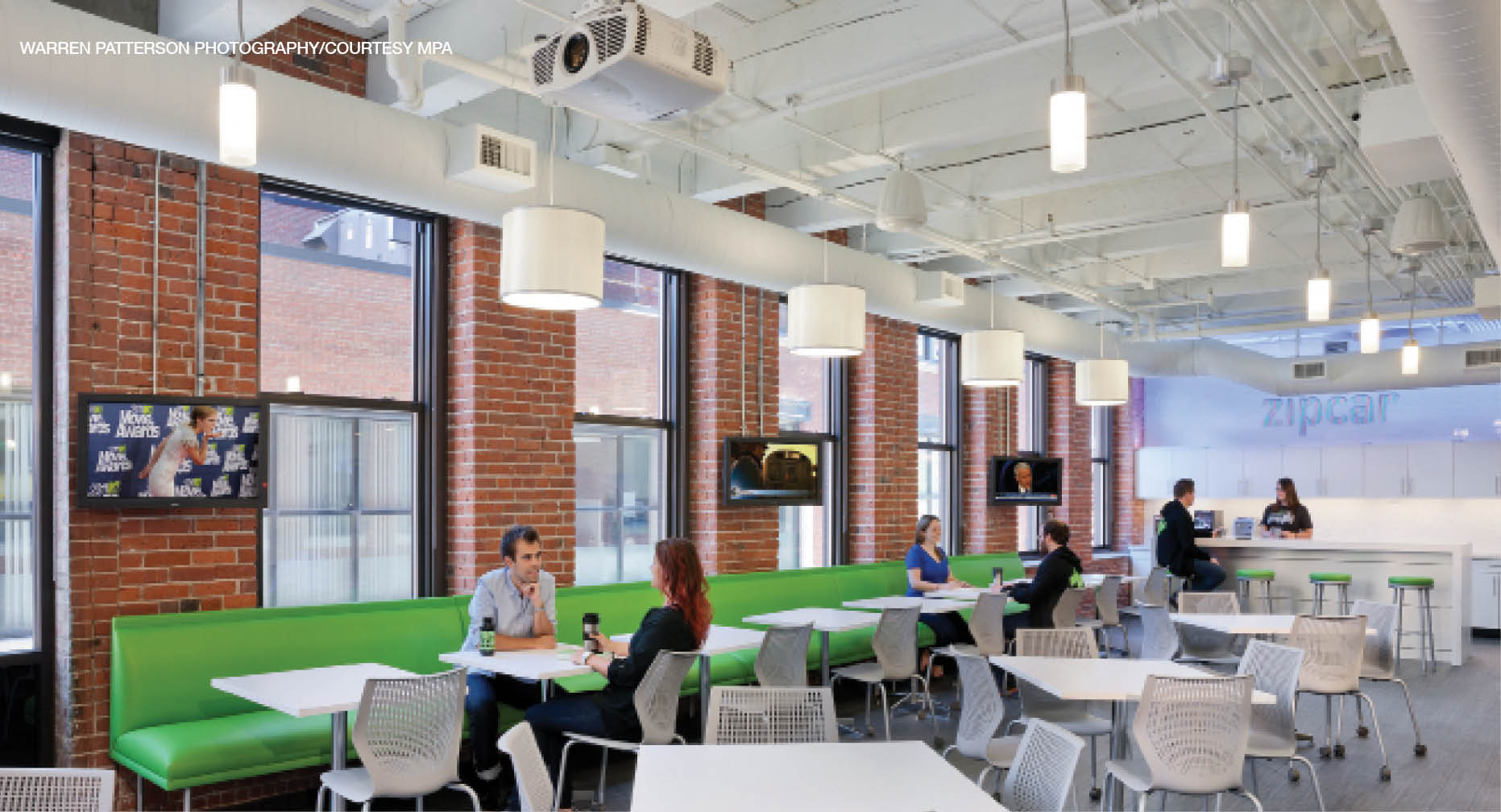The open plenum at Zipcar was designed to enhance the visual appeal of the space, located in the Innovation District in Boston.