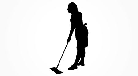 Full length of silhouette maid sweeping floor with mop over white background