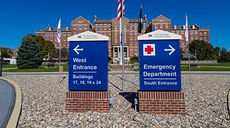Entrance signs at the U.S. Department of Veterans Affairs Medical Center in Lebanon County, Pa.