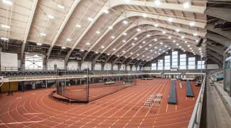 Indoor Track with LED Lights on the Ceiling