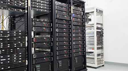 Many servers in a data center