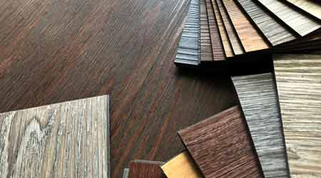 Luxury Vinyl floor tile or rubber flooring sample stack
