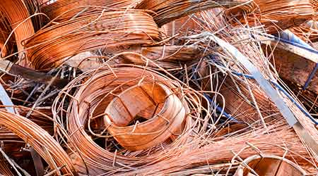A jumbled pile of scrap copper wire