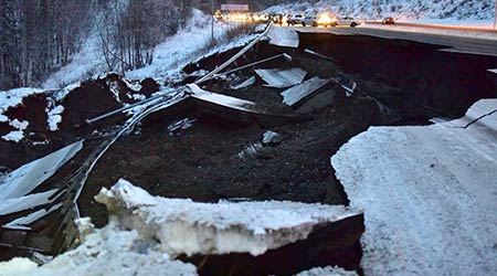 Highway damage after Alaska earthquake