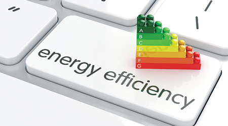 3d render of energy efficiency rating on computer keyboard