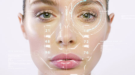 Futuristic and technological facial recognition and scanned person