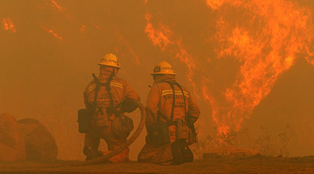 Los Angeles County firefighters fight wildfire