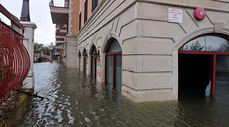 Flooding around buildings after a hurricane