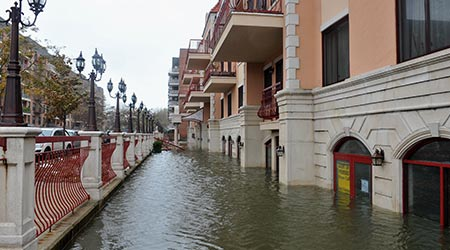 Serious flooding in the buildings due to impact from Hurricane Sandy