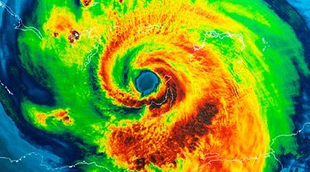 Geocolor Image in the eye of Hurricane Irma