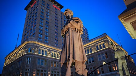 Penn Square in the center of Lancaster City includes a large soldiers and sailors monument