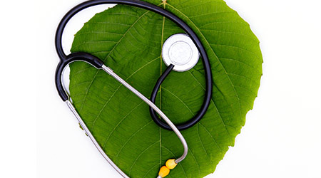 Stethoscope over green leaf isolated on white