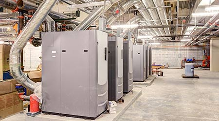high-efficiency HVAC system in an office building