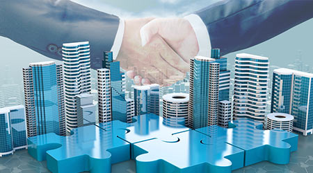 merger and acquisition business concepts, join company on puzzle pieces and handshake