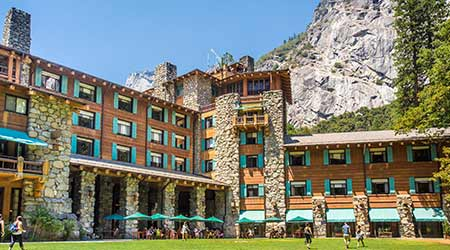 View of historic Majestic Yosemite Hotel