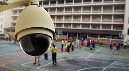outdoor CCTV monitoring at a school
