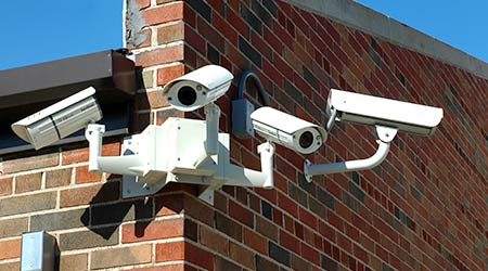 An array of security cameras at a school