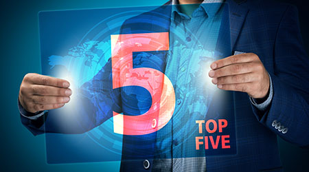 Man with top 5 sign