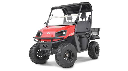 Red and black two-seater off-road utility vehicle