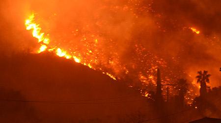 Wildfire burning in Ventura, California.