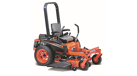 Orange and black riding lawn mower