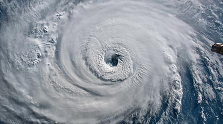 Satellite view. Hurricane Florence over the Atlantics close to the US coast . Elements of this image furnished by NASA
