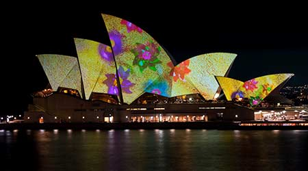 Artwork projected onto the Sydney Opera House.