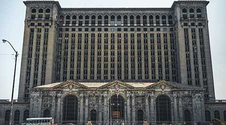 A view of the old Michigan Central Station building in Detroit