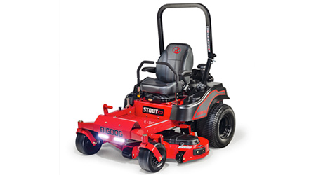 Red and black zero-turn lawn mower