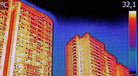Infrared image of high rise apartment buildings