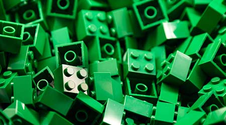 Pile of green color LEGO building blocks