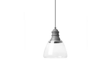 Small Stratton pendant light fixture with clear shade