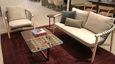 Lounge seating arrangement in the Herman Miller showroom at NeoCon