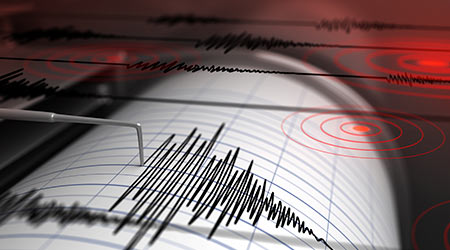 Seismograph with paper in action