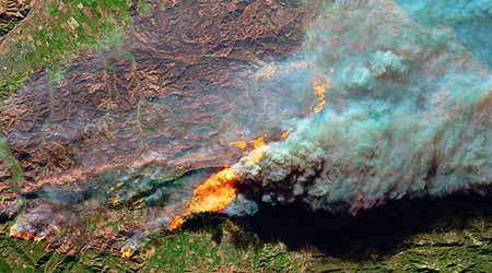 California's Wildfire Camp burns from aerial view