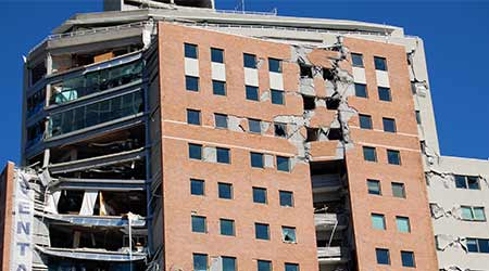 Office building damaged by 2010 earthquake in Concepcion City, Chile.