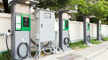 ev charging station outside retail