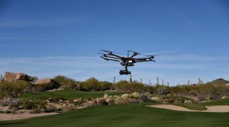 drone over golf course