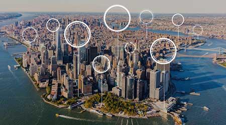 Aerial view of Manhattan/NYC skyline
