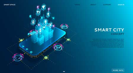 Digital hologram of smart city on the screen of smartphone with Internet of things