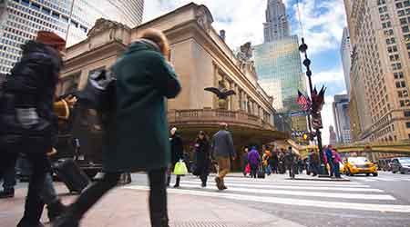 New York city street with pedestrians