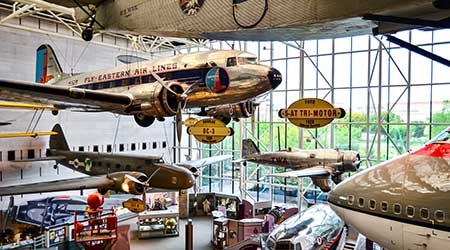 Old historic airplanes on display at the Smithsonian National Air and Space Museum