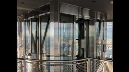 Glass elevator at Empire State Building